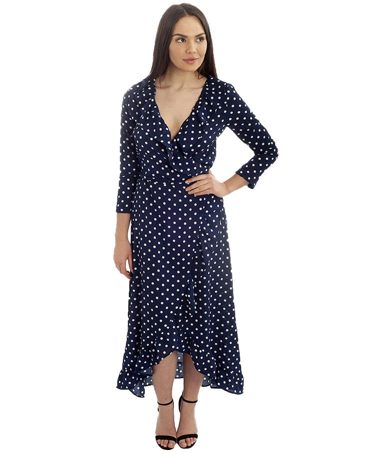 Navy Wrap Polka Dot Midi Dress