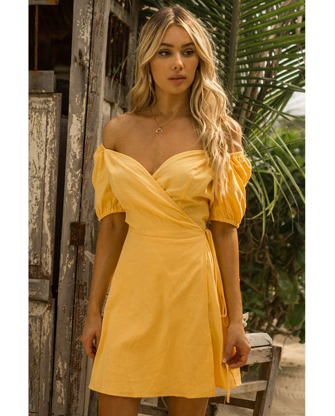 Seven Wonders Yellow Off The Shoulder Wrap Dress