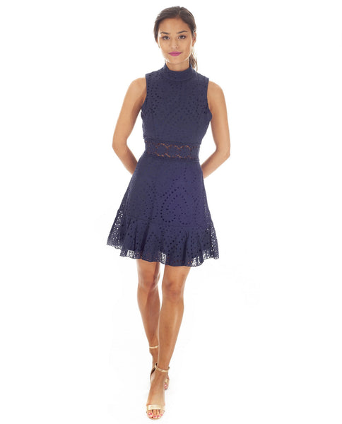 Navy Cotton Lace Mini Dress