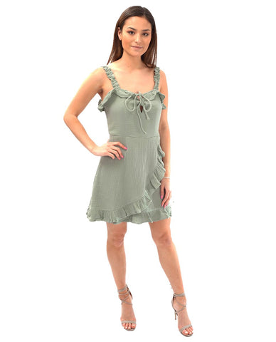 Seven Wonders Sage Mini Dress With Ruffles