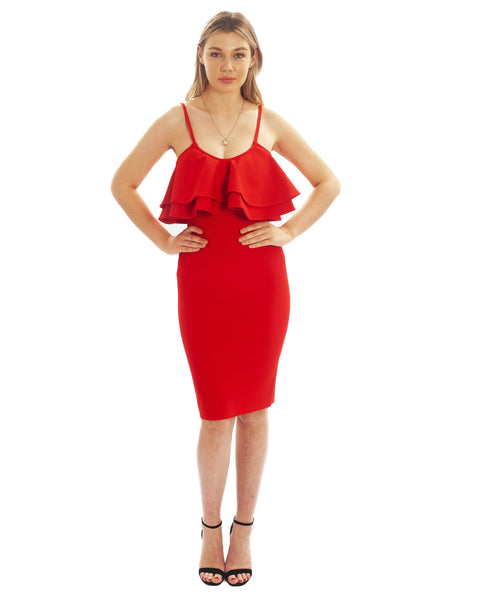 Red Bodycon Midi Dress With Frill Detail