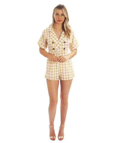 Beige Checked Playsuit With Belt Detail