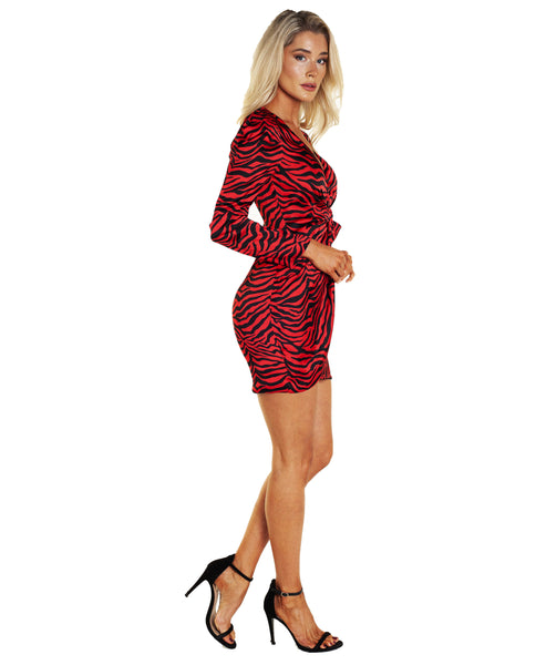 Bardot Red Zebra Print Dress