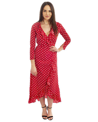 Red Wrap Polka Dot Midi Dress