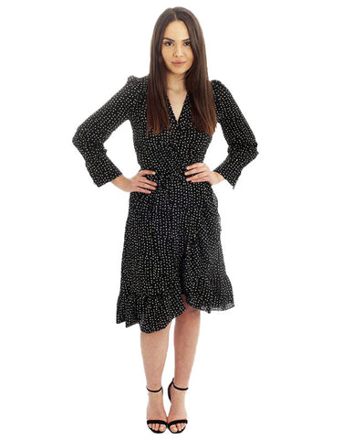 Black Speckle Wrap Midi Dress