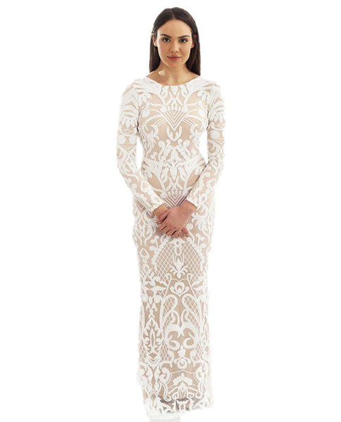 White Long Sleeved Sequin Maxi