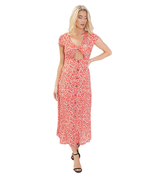Red & White Ditsy Floral Maxi