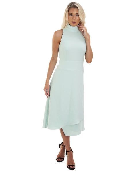 Reiss Open Back Mint Midi Dress