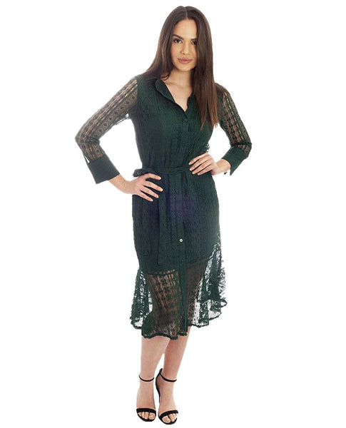 Long Sleeved Green Lace Midi Dress