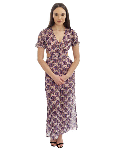 Purple Floral Boho Maxi With Cut Out Back