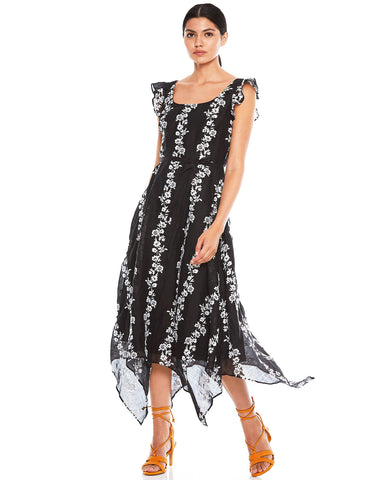 Talulah Black Floral Midi Dress