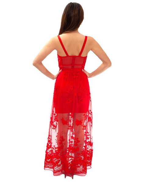 Red Sheer Lace Maxi Dress