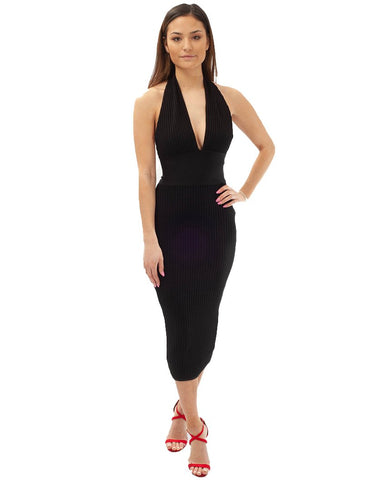 Black Bodycon Halterneck Midi Dress