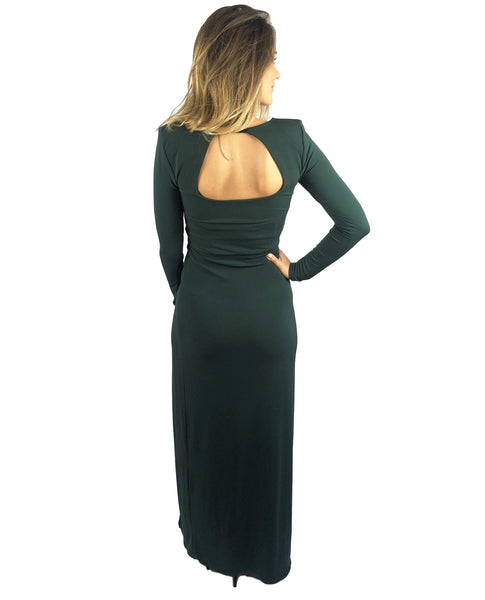 Topshop Green Maxi With Thigh Split