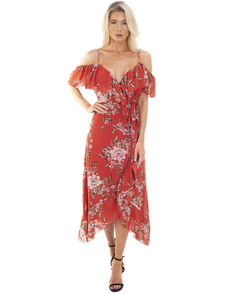 WAYF Nanette Ruffle Wrap Midi Dress
