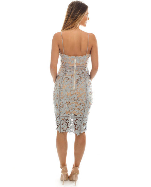 Grey Lace Bodycon Midi Dress