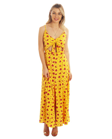 Dancing Leopard Malibu Dress In Mustard Daisy