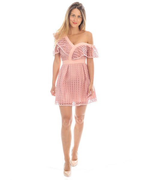 Pink One Shouldered Lace Mini Dress