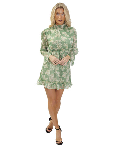 Green Floral Chiffon Mini Dress