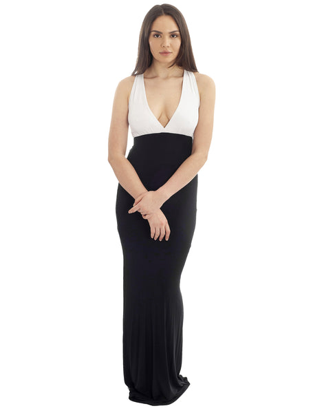 Gorgeous Couture Monochrome Plunge Maxi