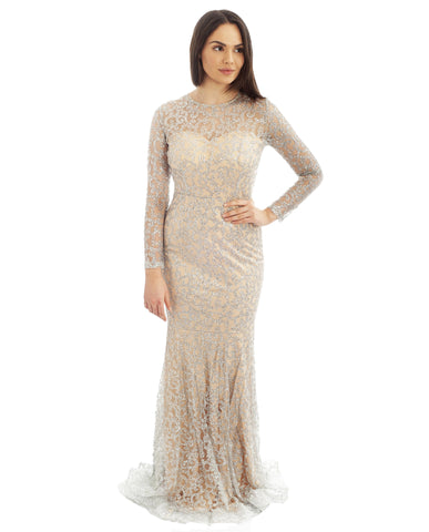 Long Sleeved Silver Glitter Maxi