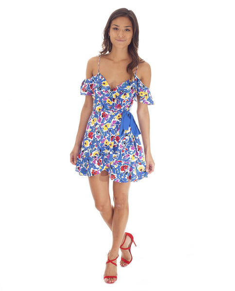 Topshop Blue Floral Wrap Mini Dress