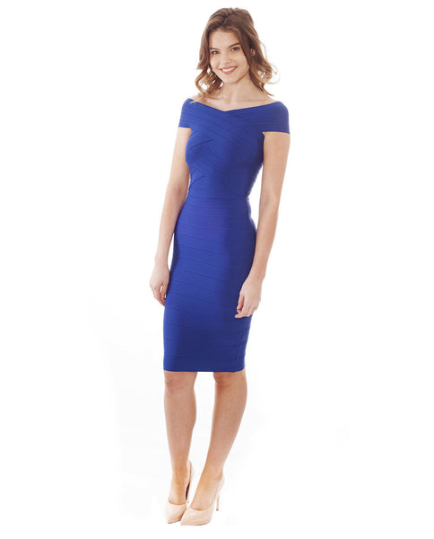 Off The Shoulder Blue Bodycon Midi Dress