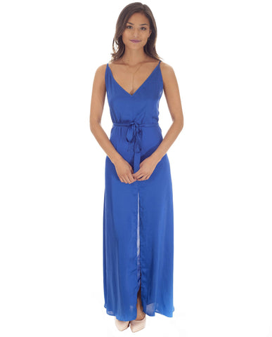 Dancing Leopard Blue Satin Split Front Maxi