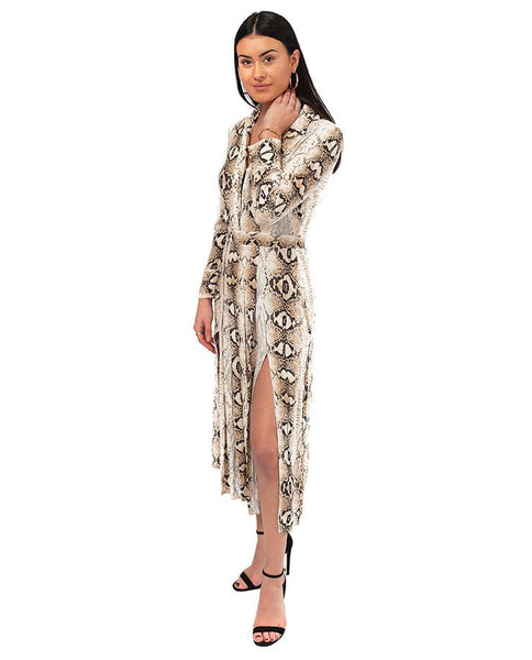 Topshop Snake Print Midi Dress With Split Front