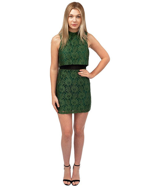 Topshop Green Lace Tiered Mini