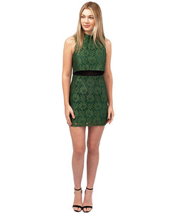 HIRE TOPSHOP GREEN LACE TIERED MINI