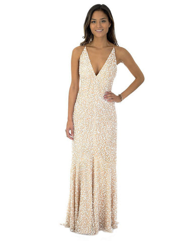 ASOS Nude Sequin Fishtail Maxi Dress
