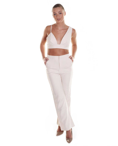 Beige Two Piece Trouser Suit