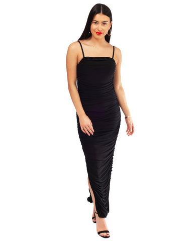 Black Ruffle Maxi Dress With Side Split