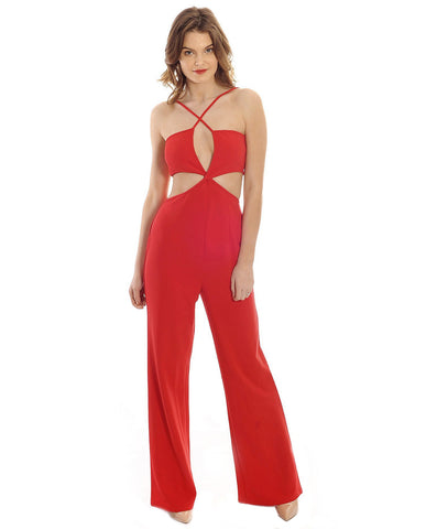 In The Style Hembrow Red Cross Front Cut Out Jumpsuit
