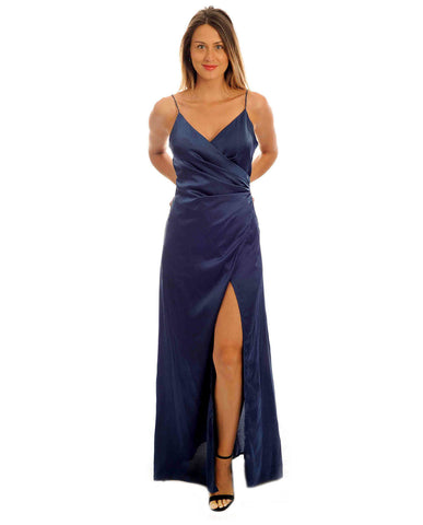 Missguided Navy Satin Maxi Dress