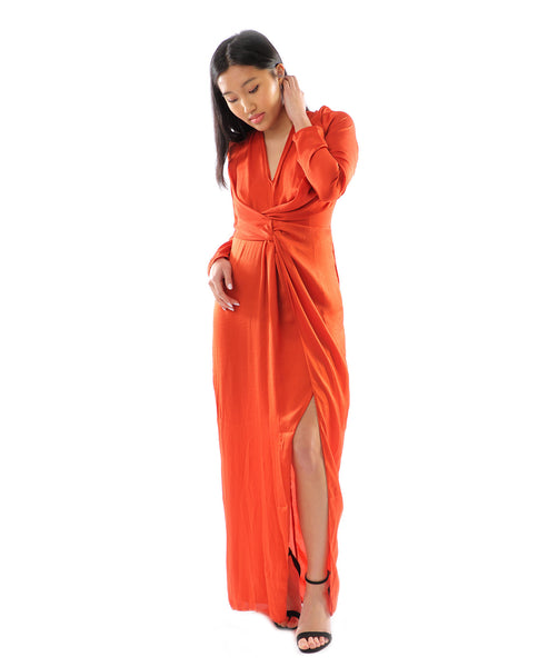 Missguided Orange Knot Front Maxi
