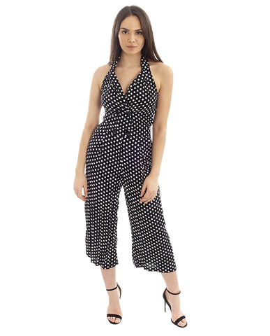 Monochrome Polka Dot V Neck Jumpsuit