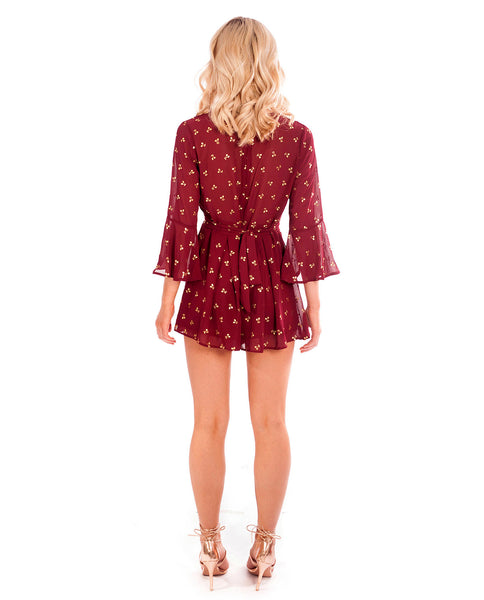 Maroon Playsuit With Gold Cherry Detail
