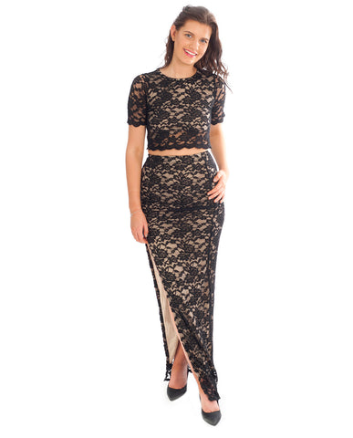 Missguided Black & Nude Lace Co-ord
