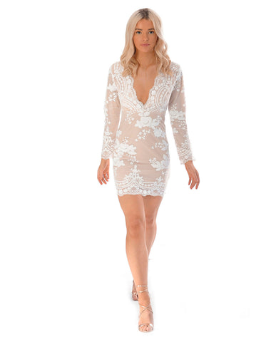 White Mini With Long Sleeves And Sequin Detail