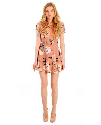 Pink Floral Mini Dress With Cross Back Detail