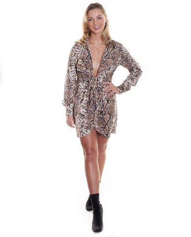 Rebellious Snake Skin Mini Dress With Tie Front