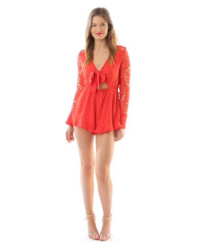 Red Playsuit With Lace Sleeve Detail