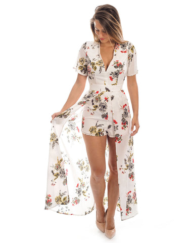 White Floral Playsuit With Maxi Skirt