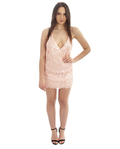 Motel Pink Finn Sequin Slip Dress