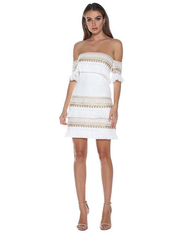 Prem the Label Makeda White Frill Mini Dress