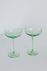 Estelle Colored Champagne Coupe Stemware - Set of 2 {Mint Green}