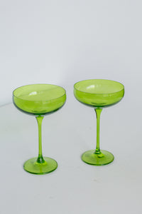 Estelle Colored Champagne Coupe Stemware - Set of 2 {Forest Green}