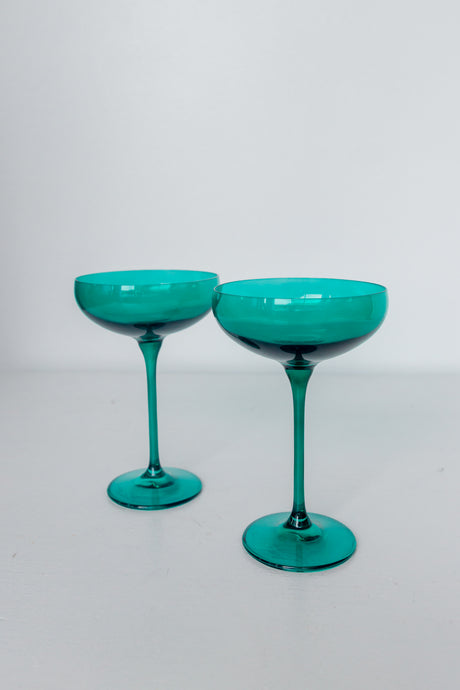 Estelle Colored Champagne Coupe Stemware - Set of 2 {Emerald Green}